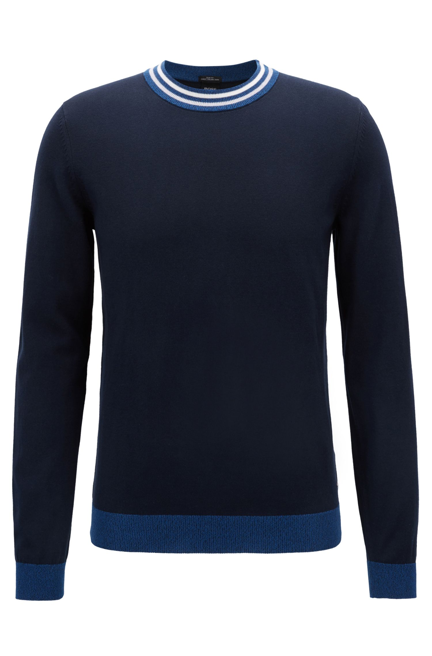 Slim-fit cotton sweater with striped crew neck