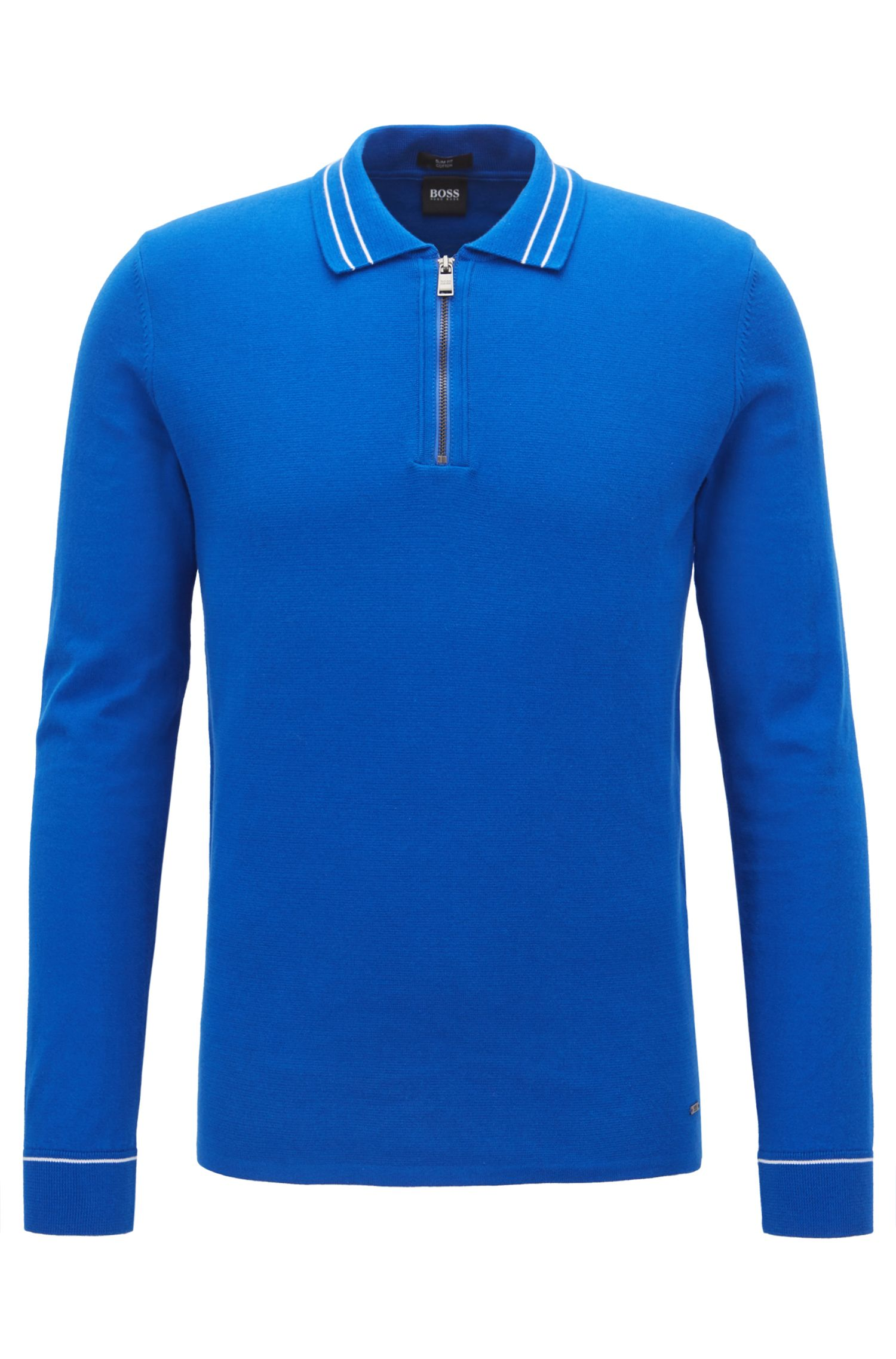 Zip-neck polo sweater in Egyptian cotton, Blue