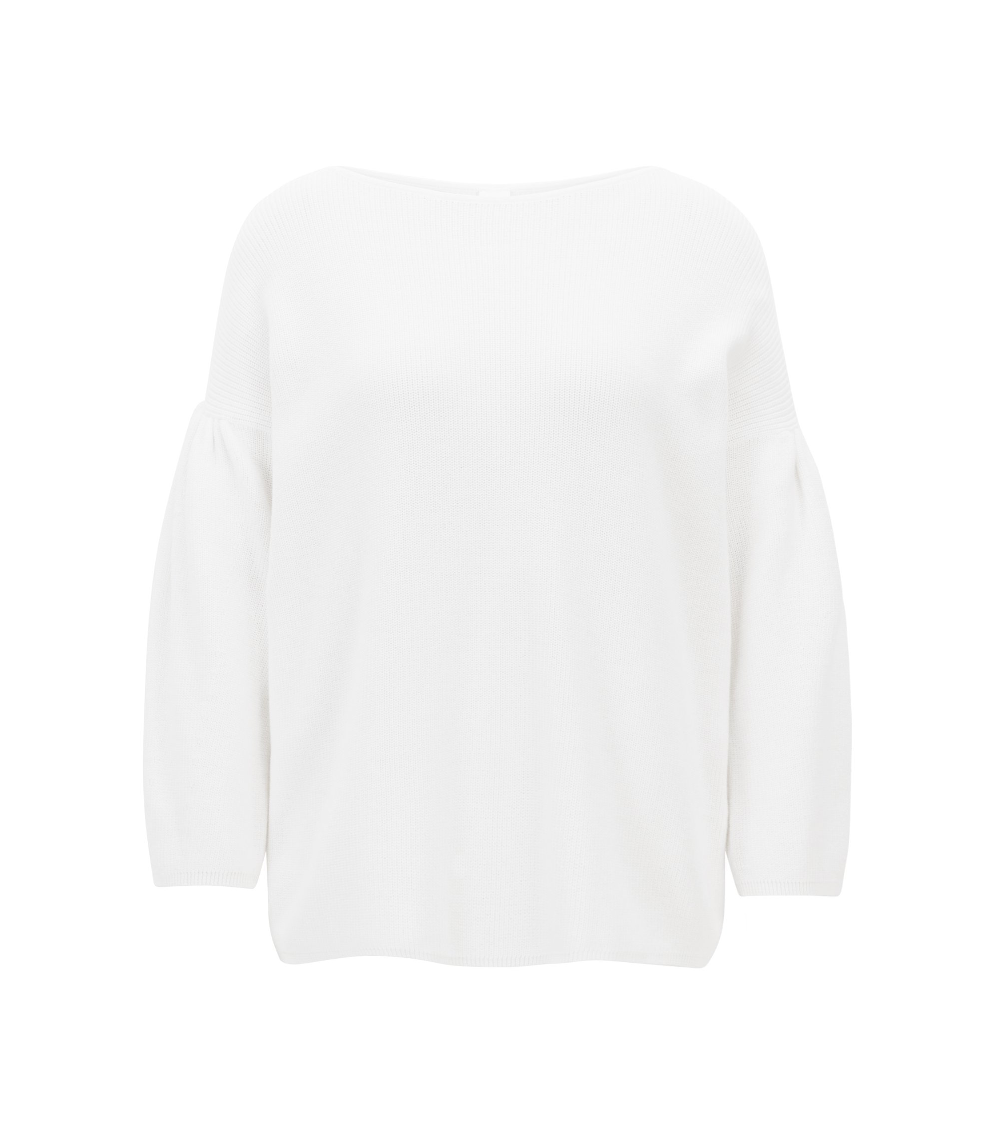 Boat-neck sweater with dropped shoulders and gathered sleeves, White