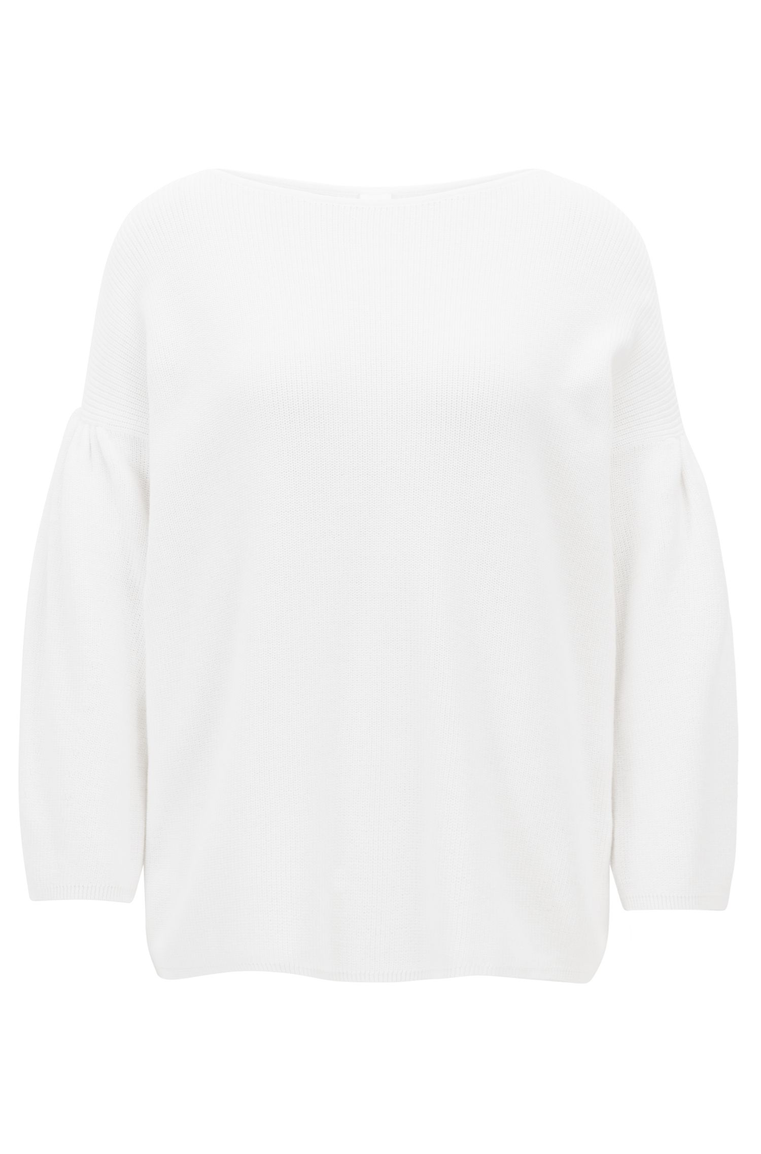 Boat-neck sweater with dropped shoulders and gathered sleeves
