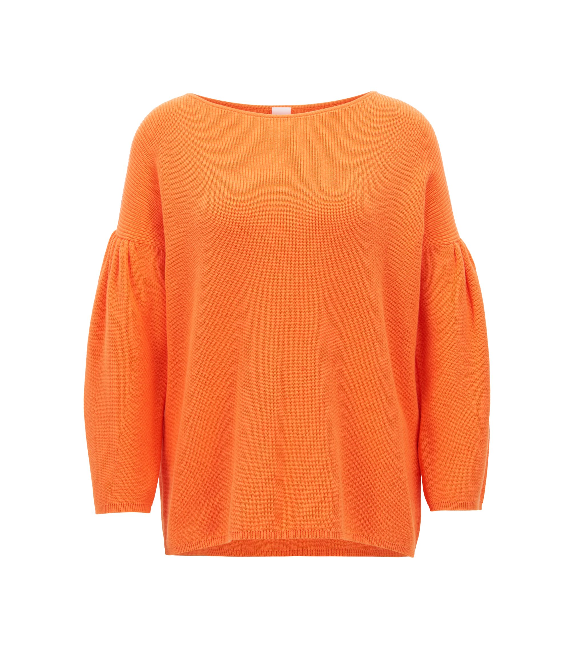 Boat-neck sweater with dropped shoulders and gathered sleeves, Orange