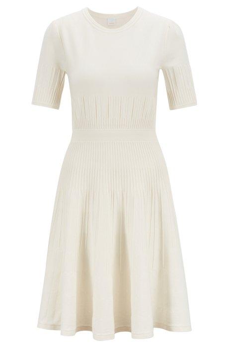 Vestido slim fit en punto de mezcla de algodón elástico, Natural