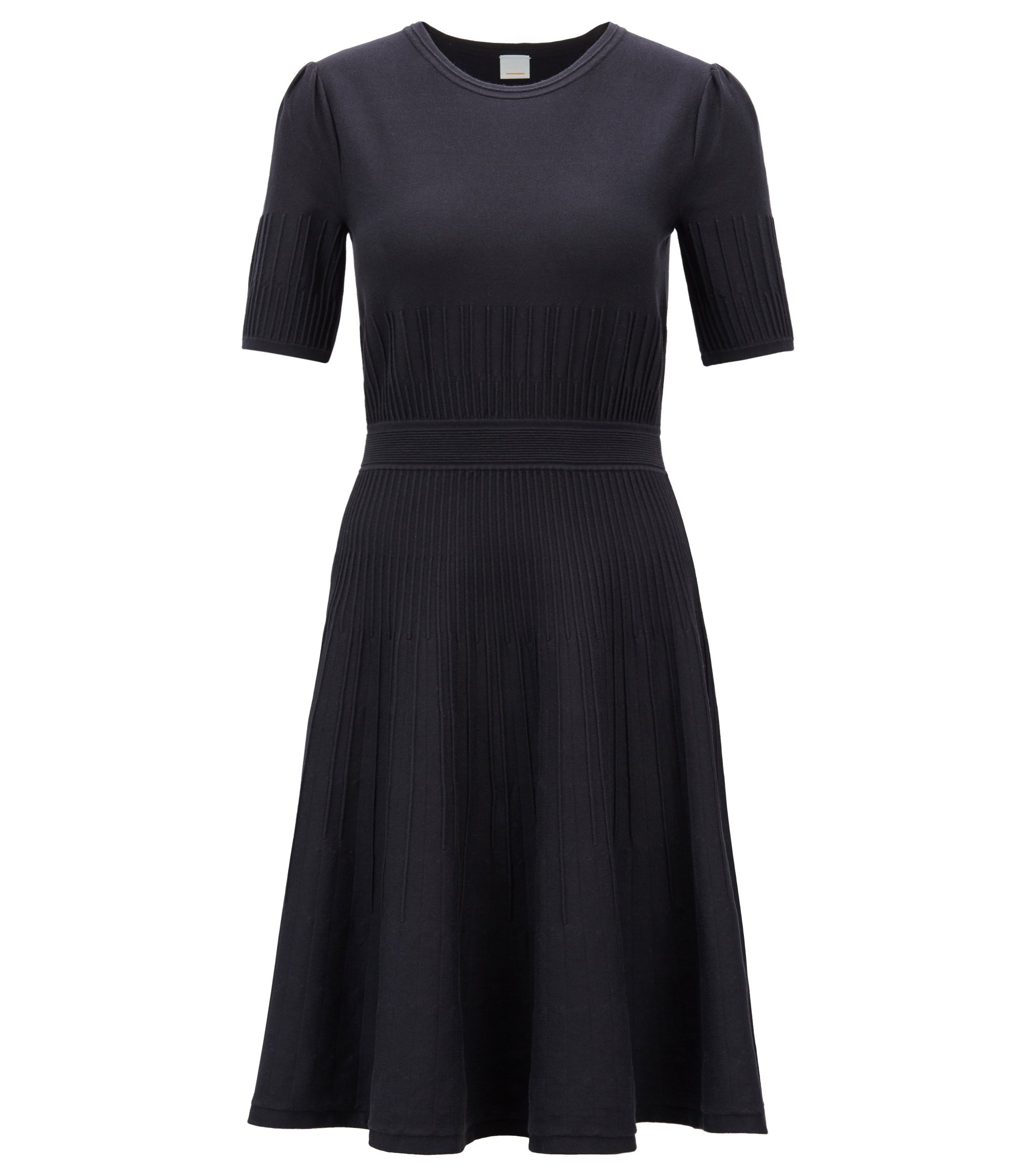 Slim-fit dress in a knitted stretch-cotton blend, Dark Blue