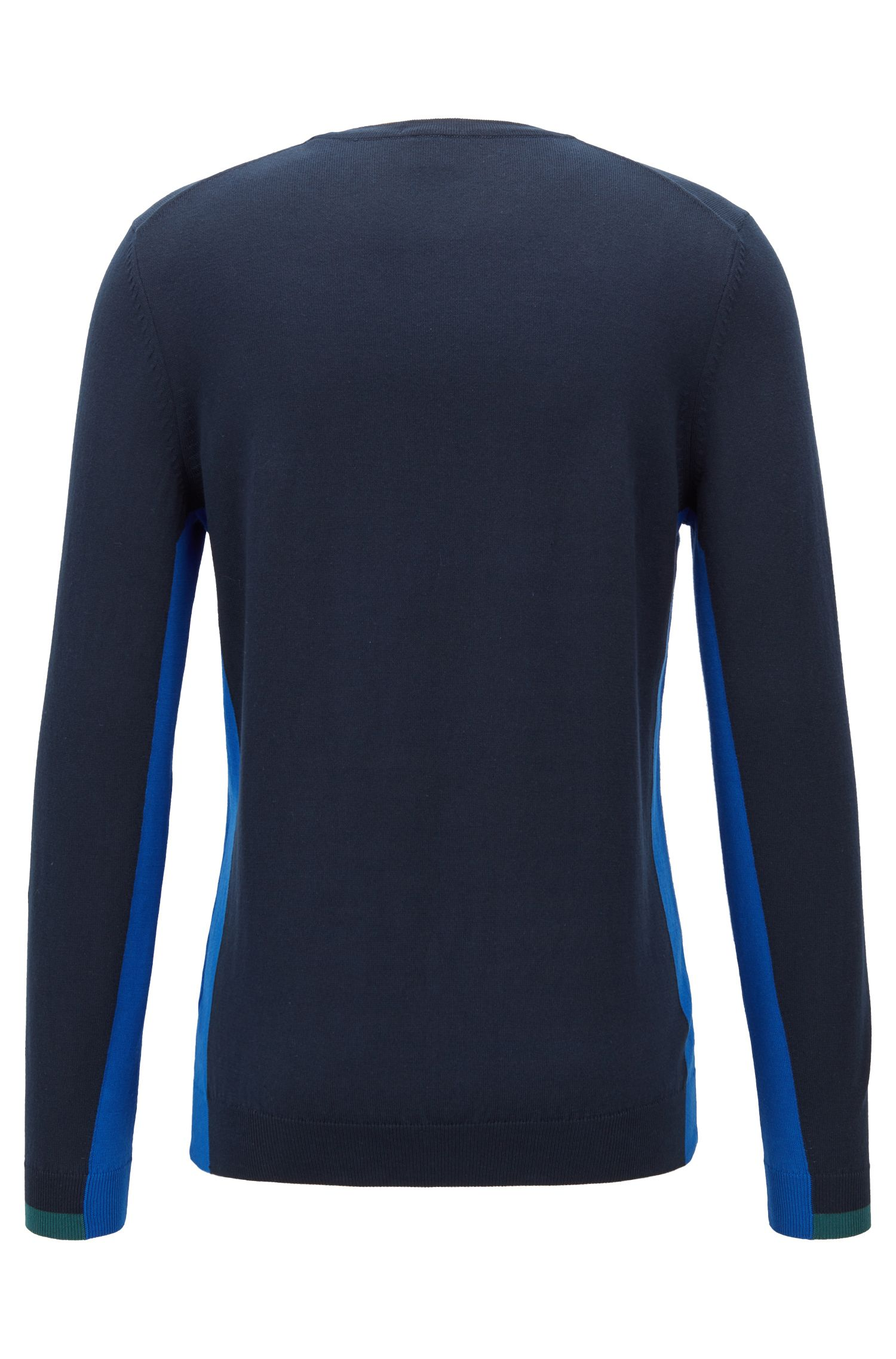 Crew-neck sweater in pure cotton with colourblock intarsia