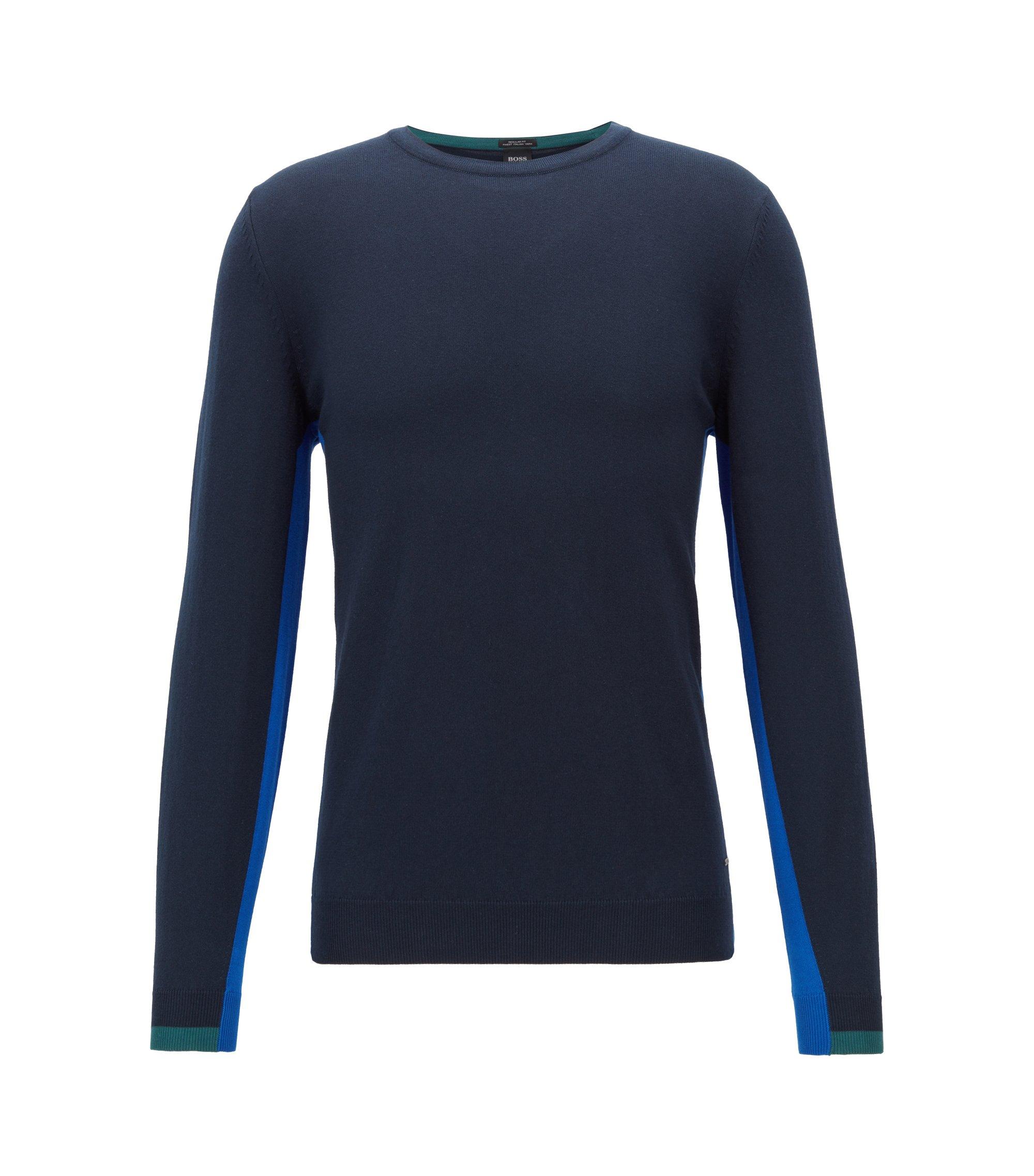 Pull à col ras-du-cou en pur coton, à détails intarsia color block, Bleu