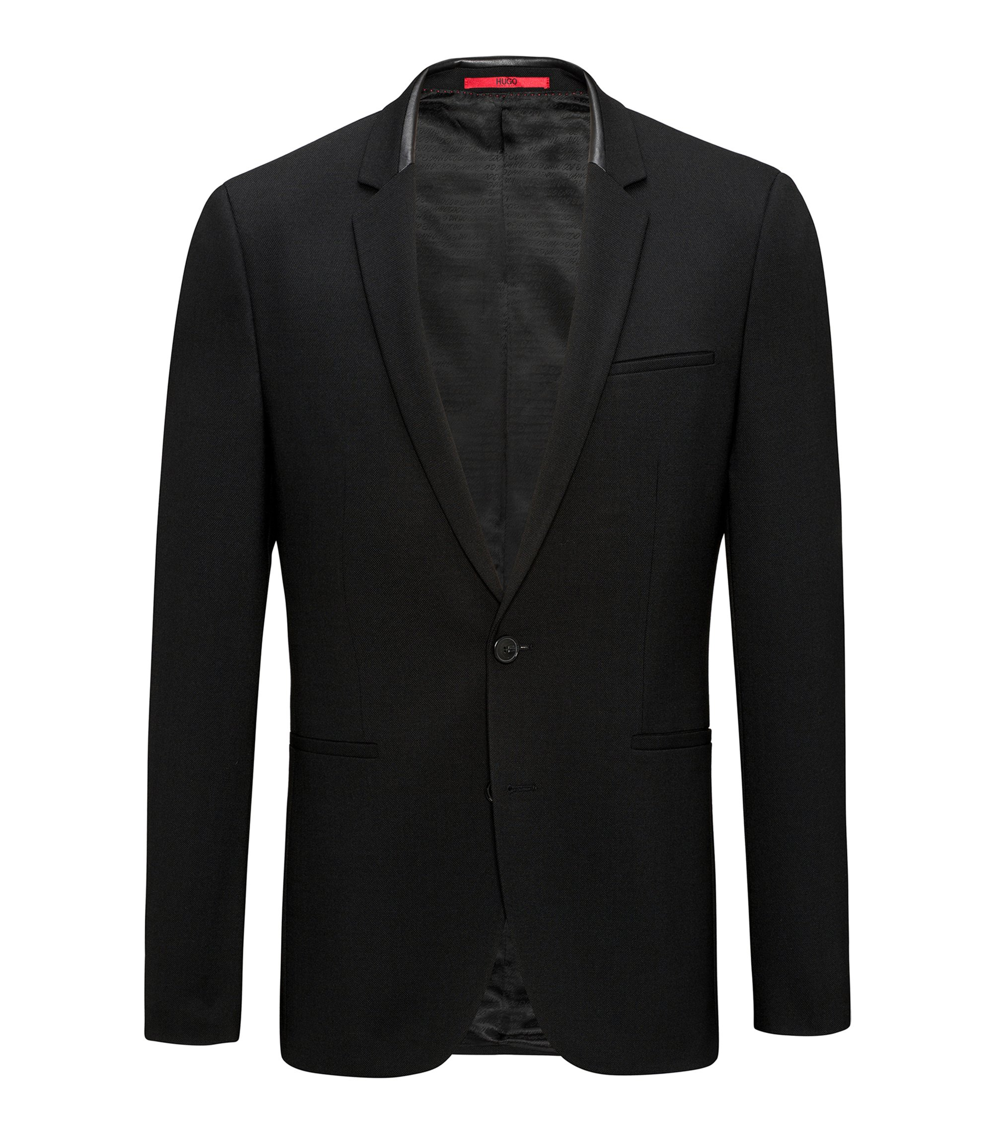 Extra-slim-fit jacket in comfort-stretch fabric, Black