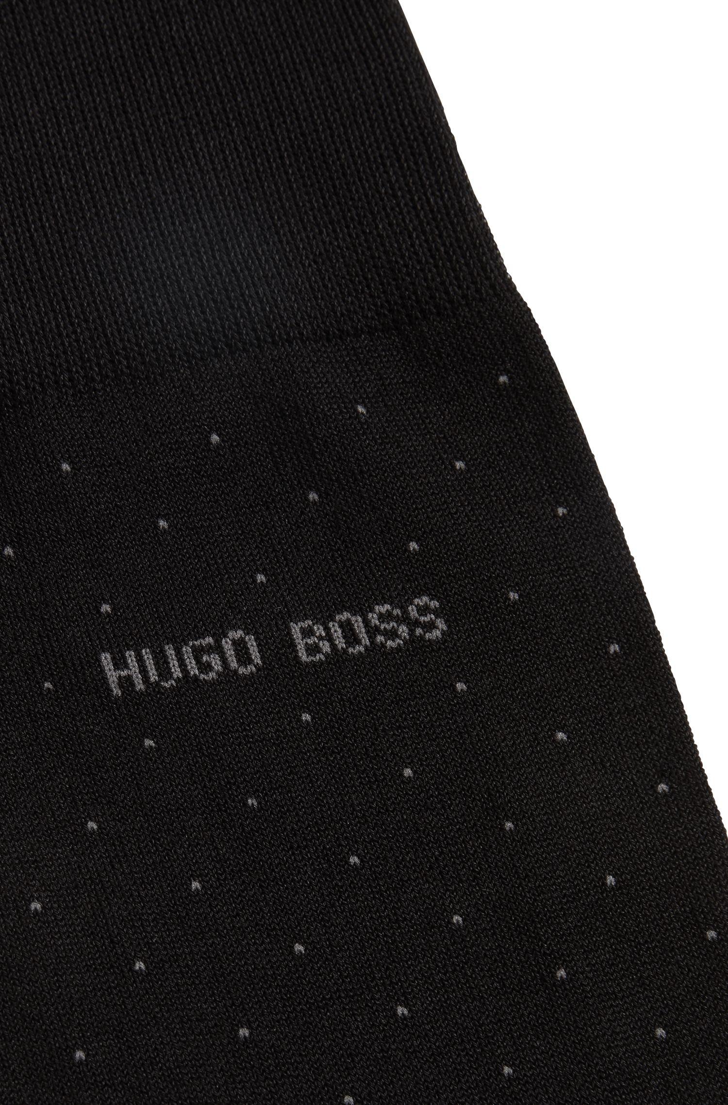 Fein gepunktete Socken aus merzerisiertem Baumwoll-Mix, Schwarz