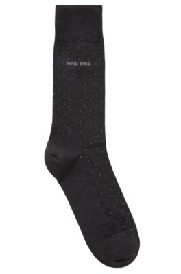 Mercerised cotton-blend socks with micro dots, Anthracite