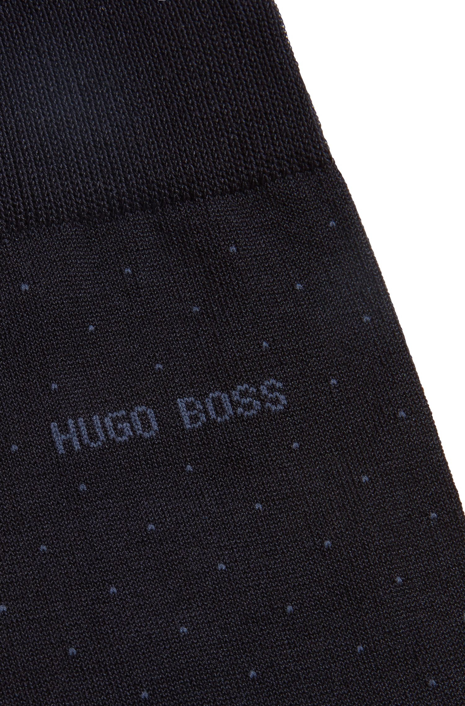 Mercerised cotton-blend socks with micro dots, Dark Blue