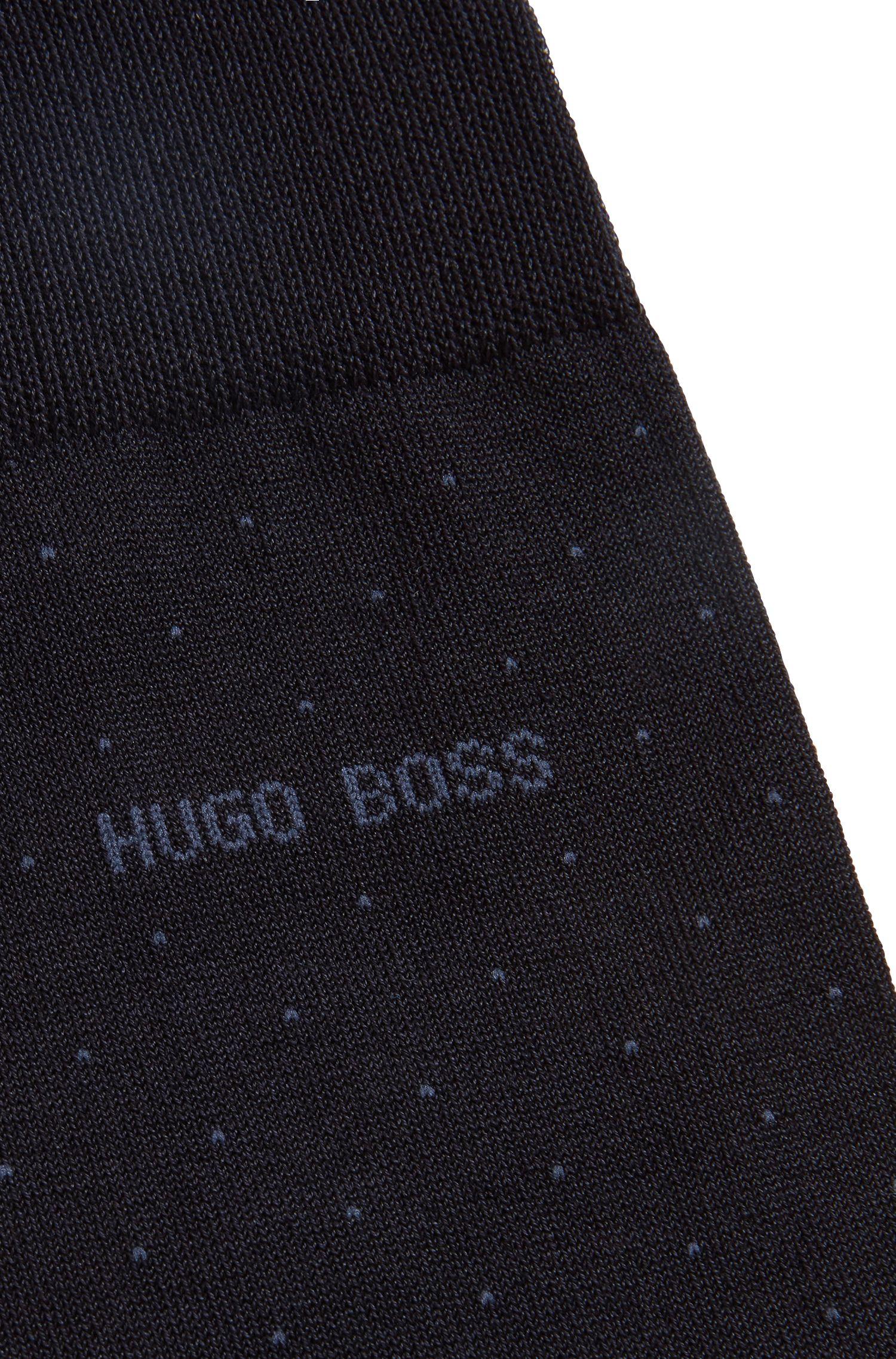 Calcetines de micropuntos en mezcla de algodón mercerizado, Azul oscuro
