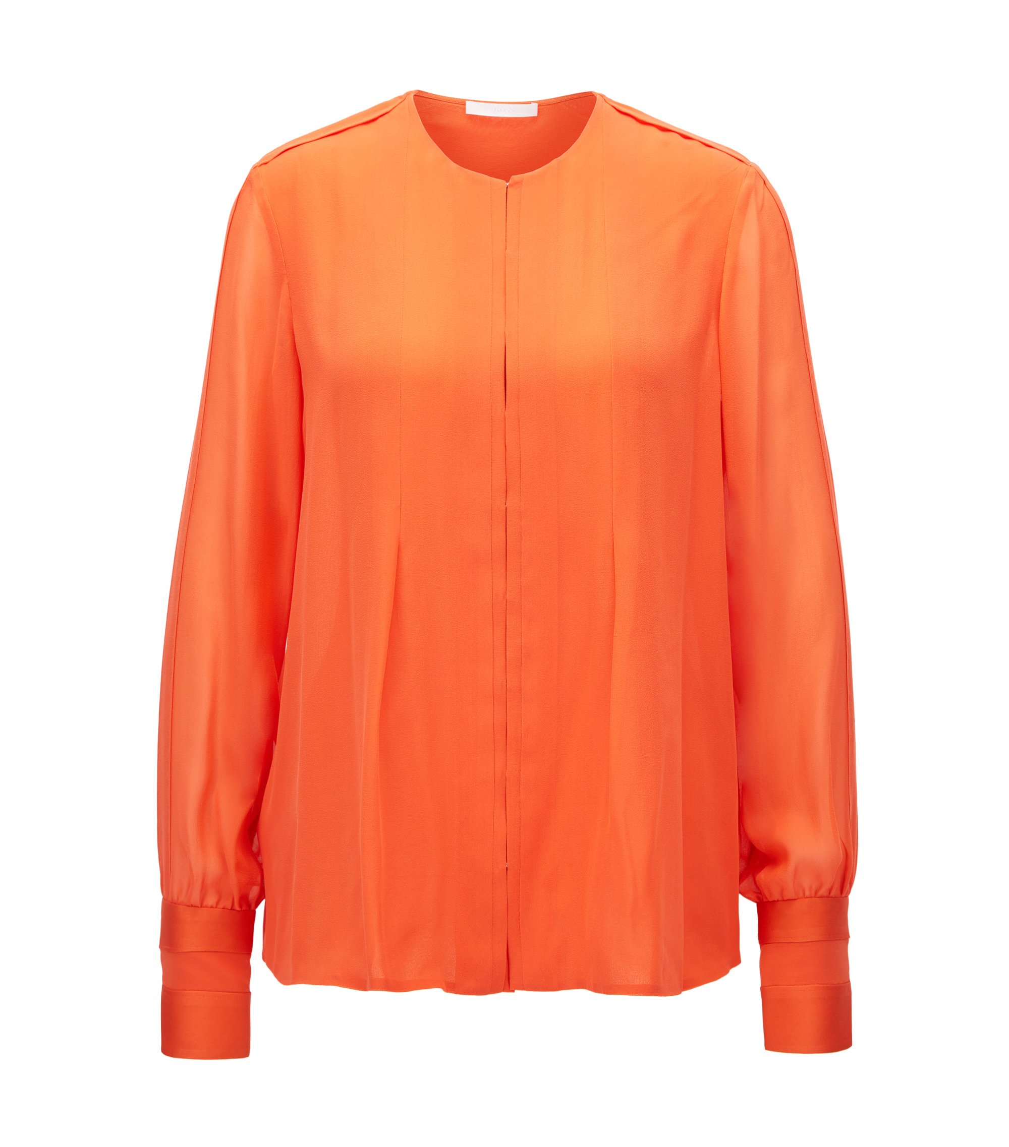 Regular-Fit Seidenbluse aus der Gallery Kollektion, Orange