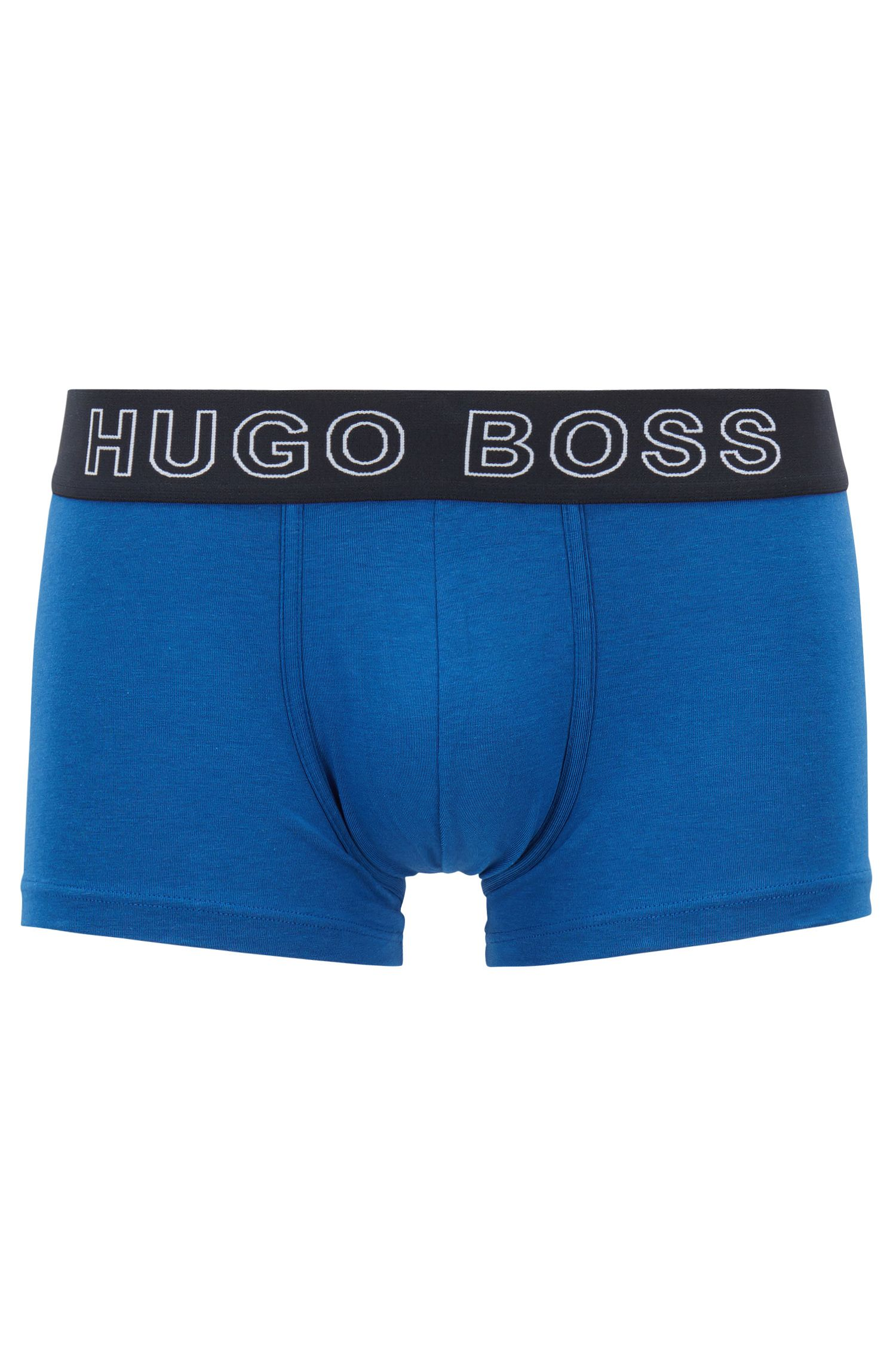 Boxer court Regular Rise en jersey simple stretch, Bleu