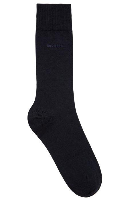Calze ad altezza regolare in misto lana vergine, Blu scuro