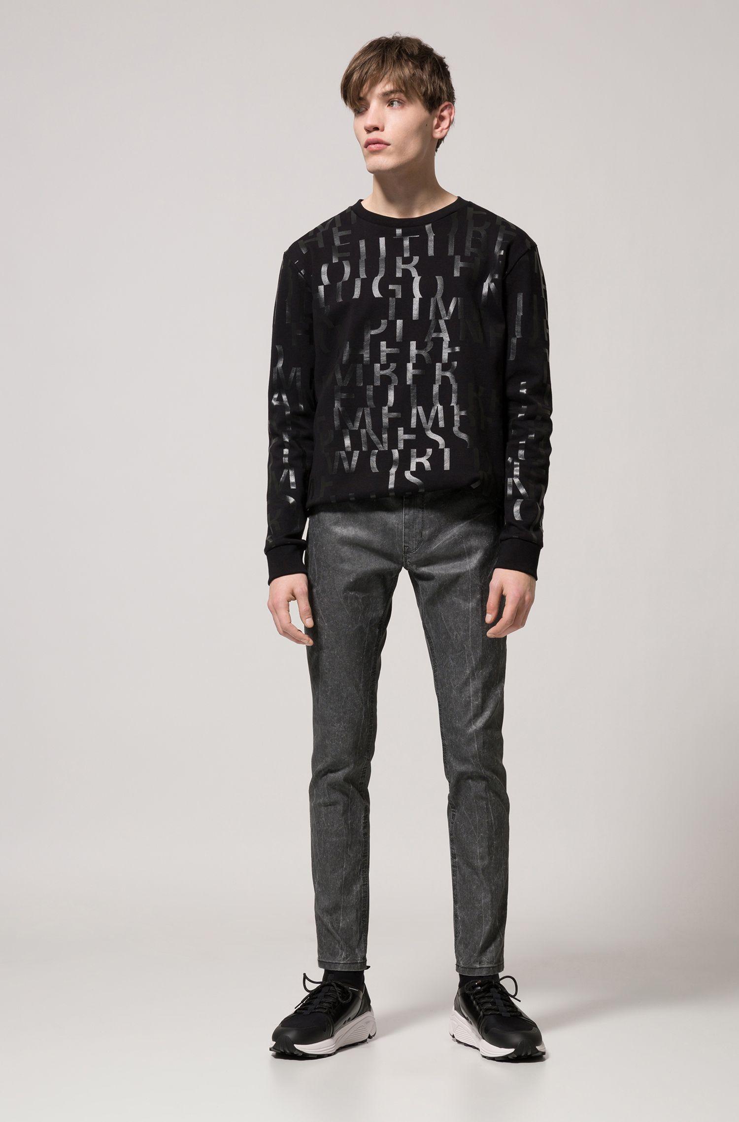 Oversized Sweatshirt aus reiner Baumwolle mit abstraktem Slogan