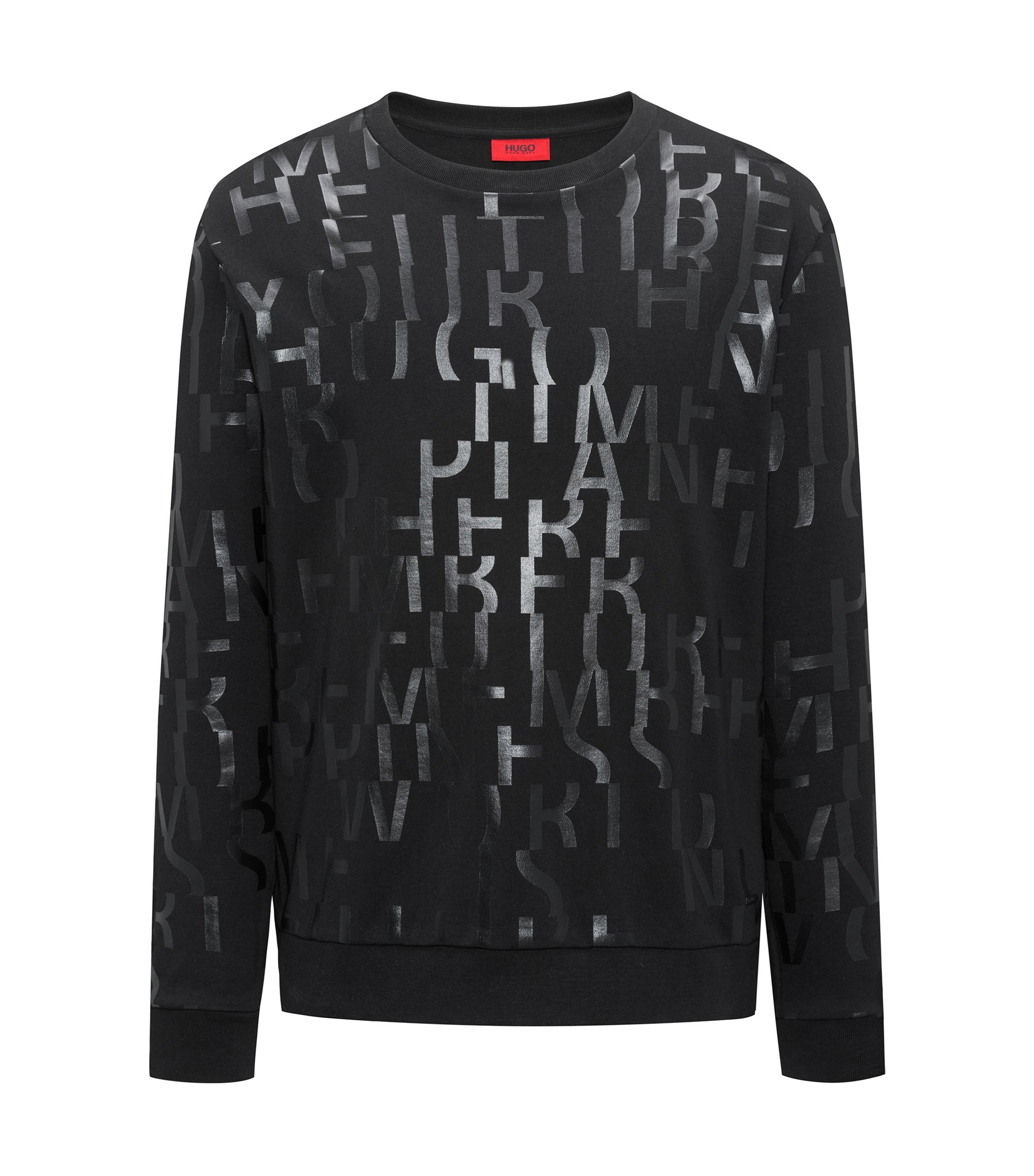 Sweat Oversized Fit en pur coton à message abstrait, Noir