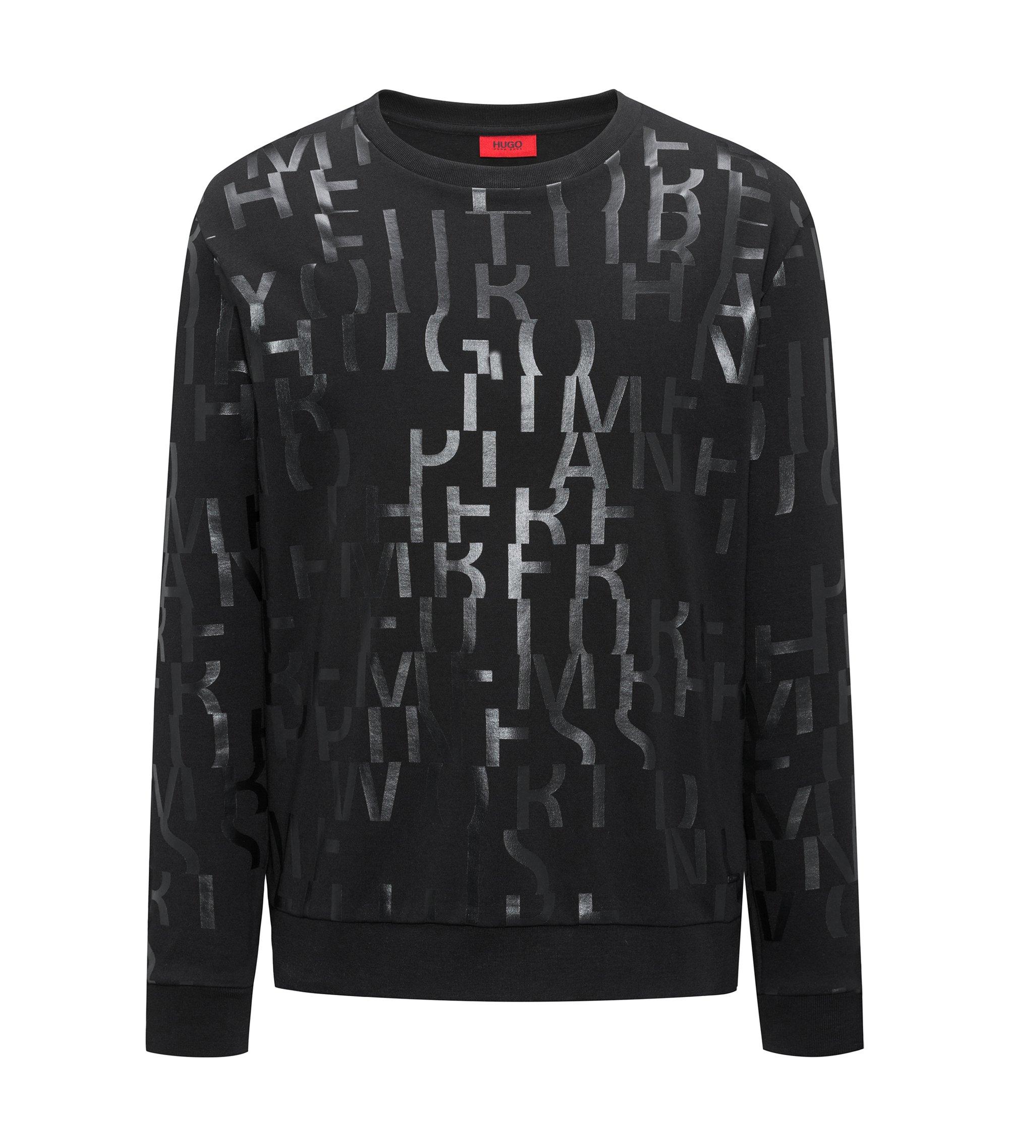Oversized-fit sweater van zuivere katoen met abstracte slogan, Zwart