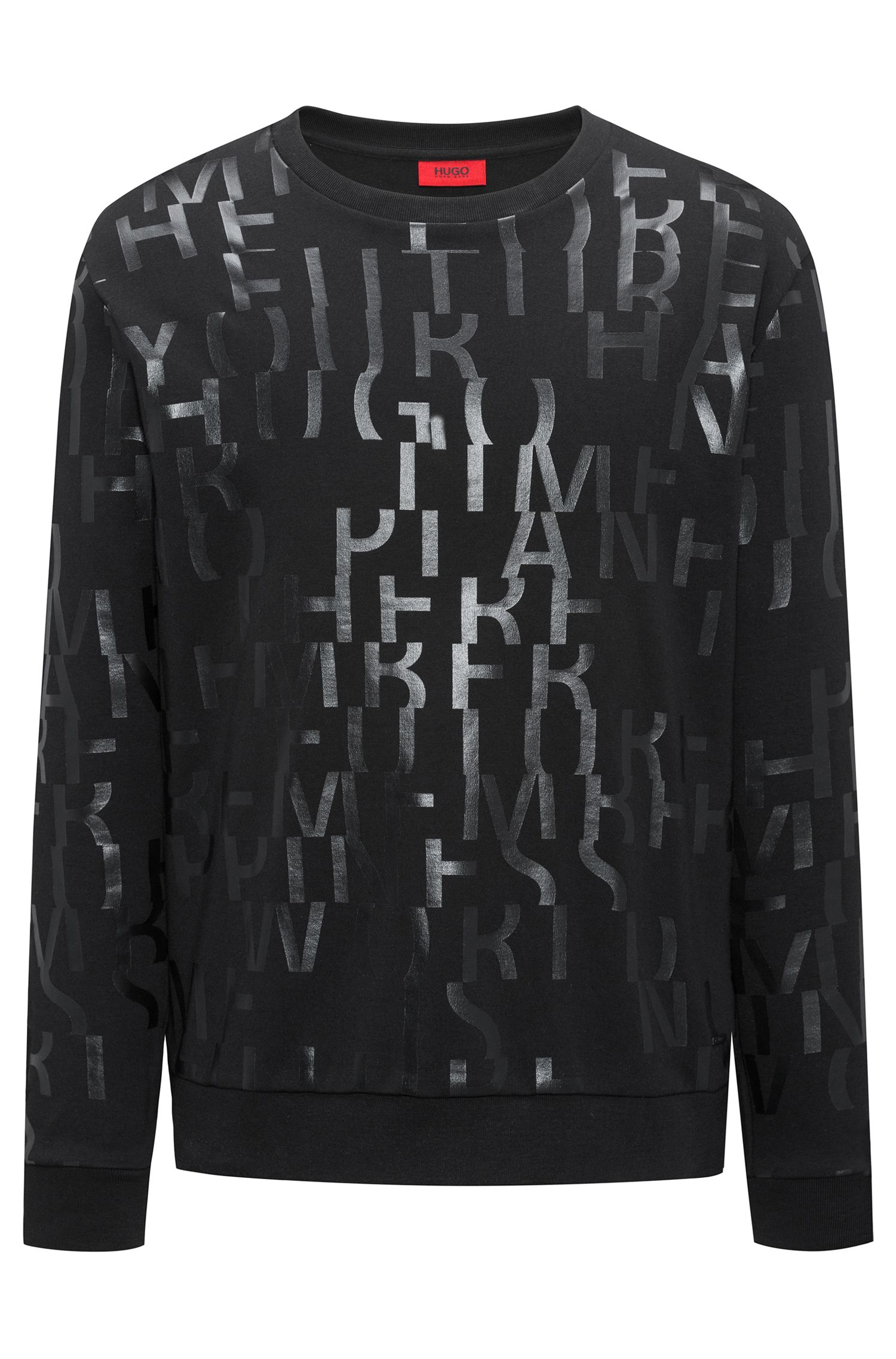 Oversized-fit sweatshirt in pure cotton with abstract slogan, Black