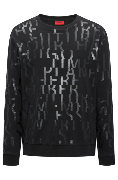 HUGO BOSS Sweat Oversized Fit en pur coton à message abstrait afiHMq7
