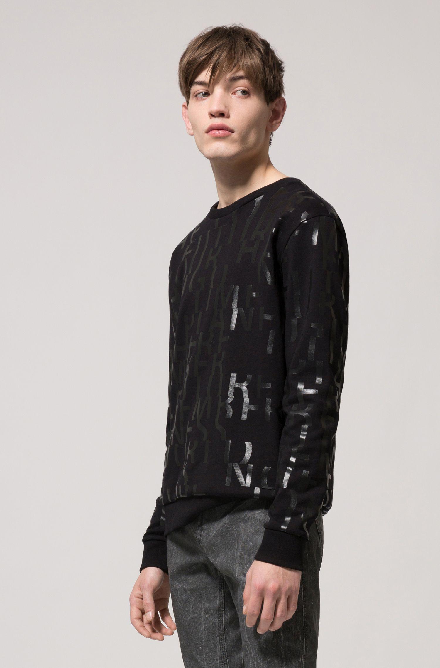 Oversized Sweatshirt aus reiner Baumwolle mit abstraktem Slogan, Schwarz