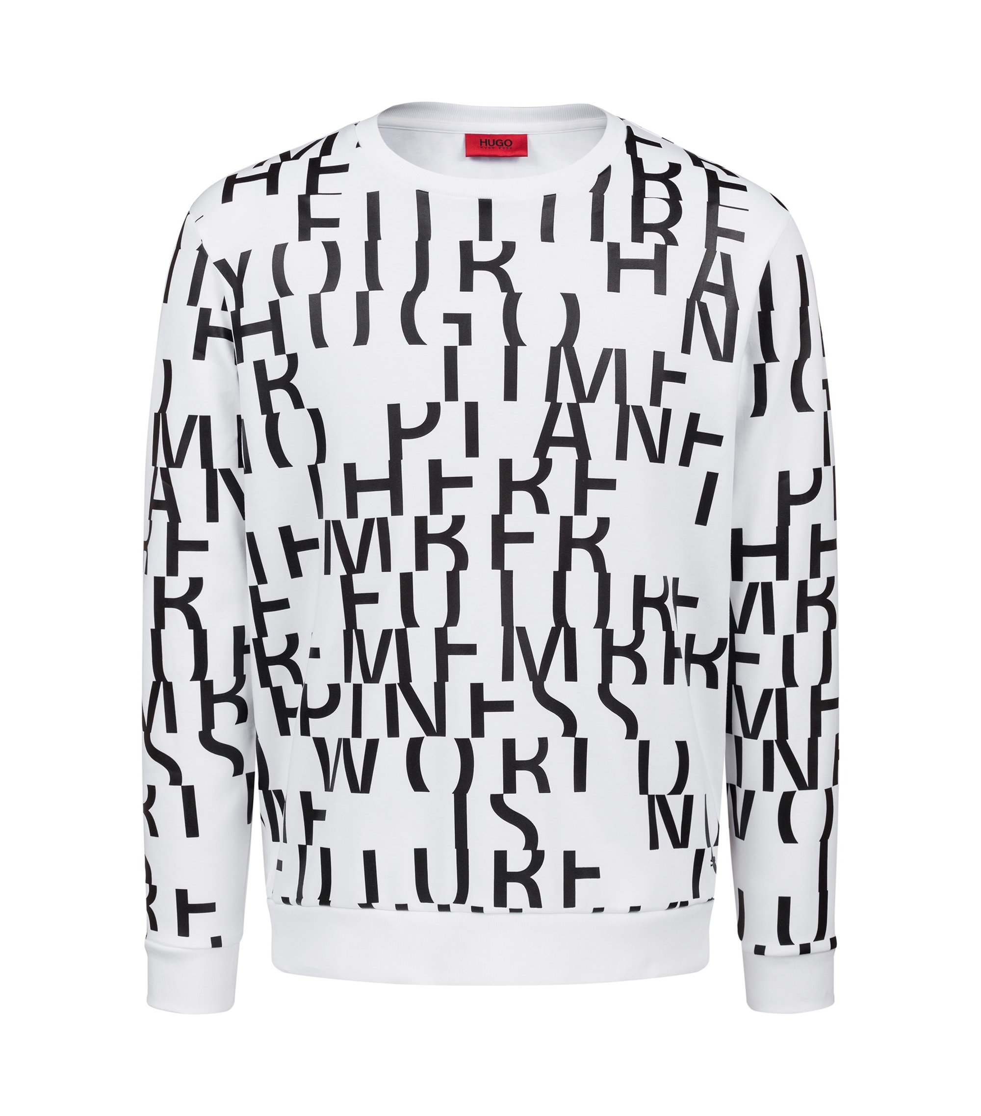 Sweat Oversized Fit en pur coton à message abstrait, Blanc