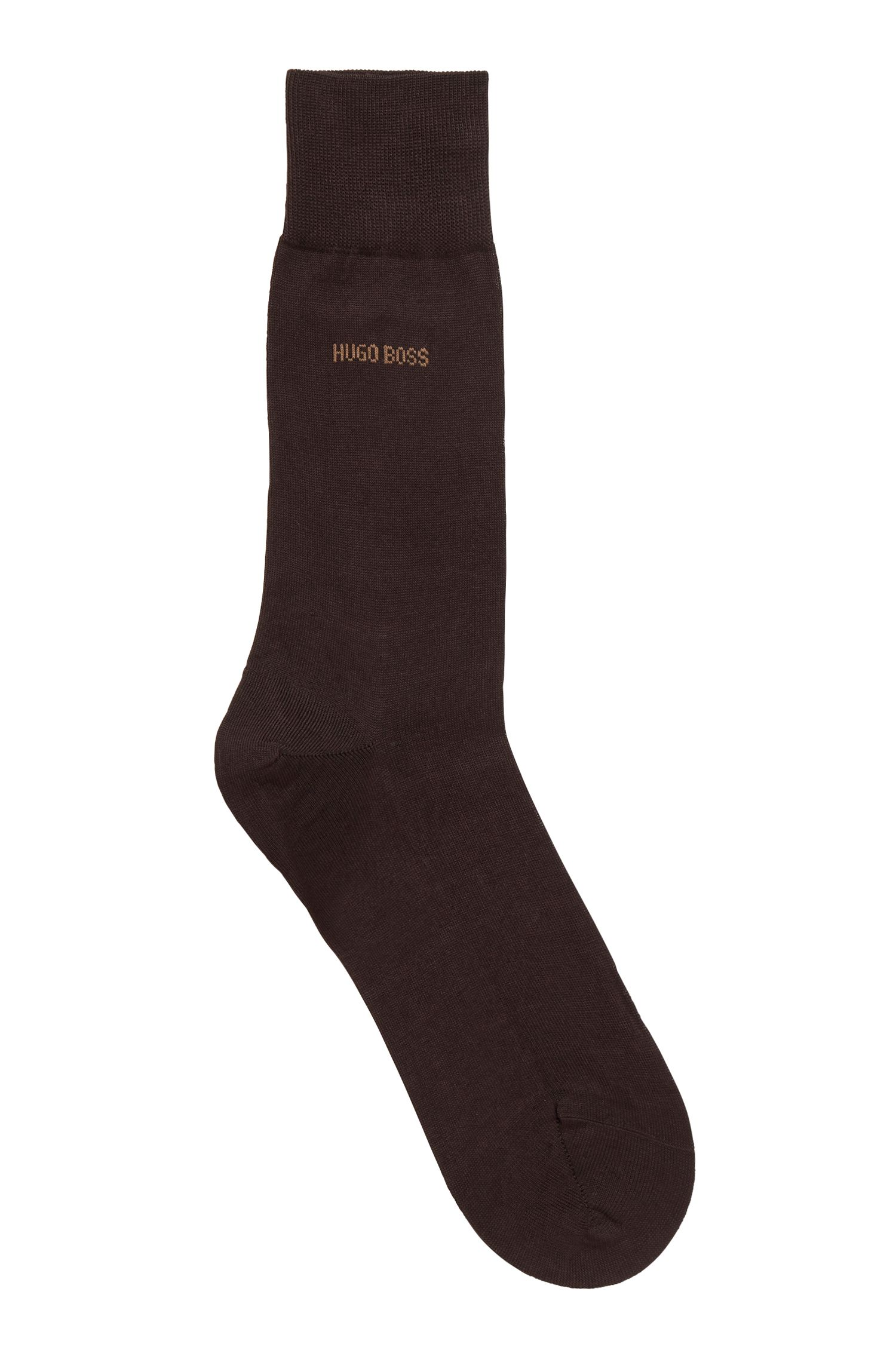 Mercerised Egyptian cotton socks with reinforced sole, Dark Brown