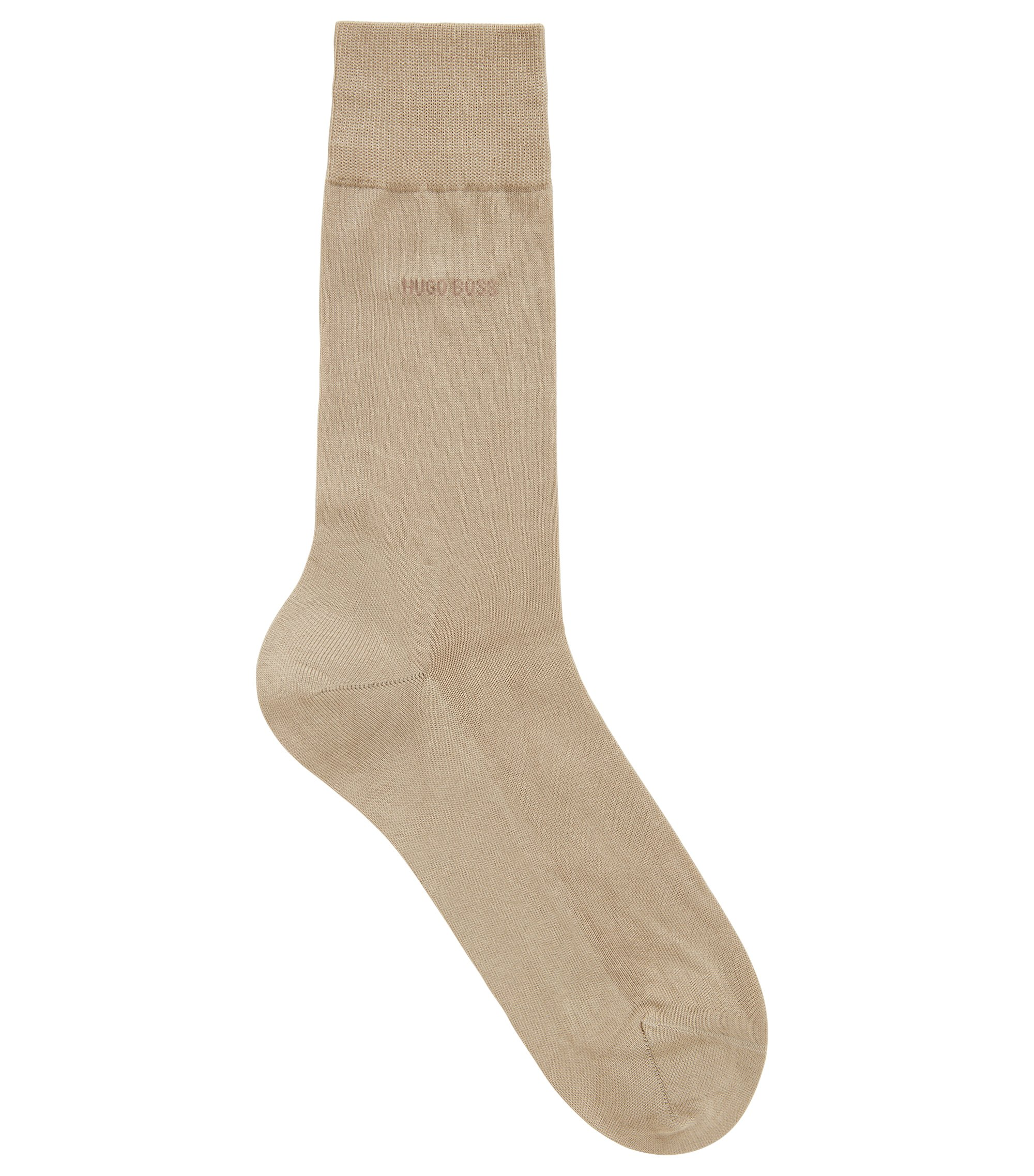 Mercerised Egyptian cotton socks with reinforced sole, Beige