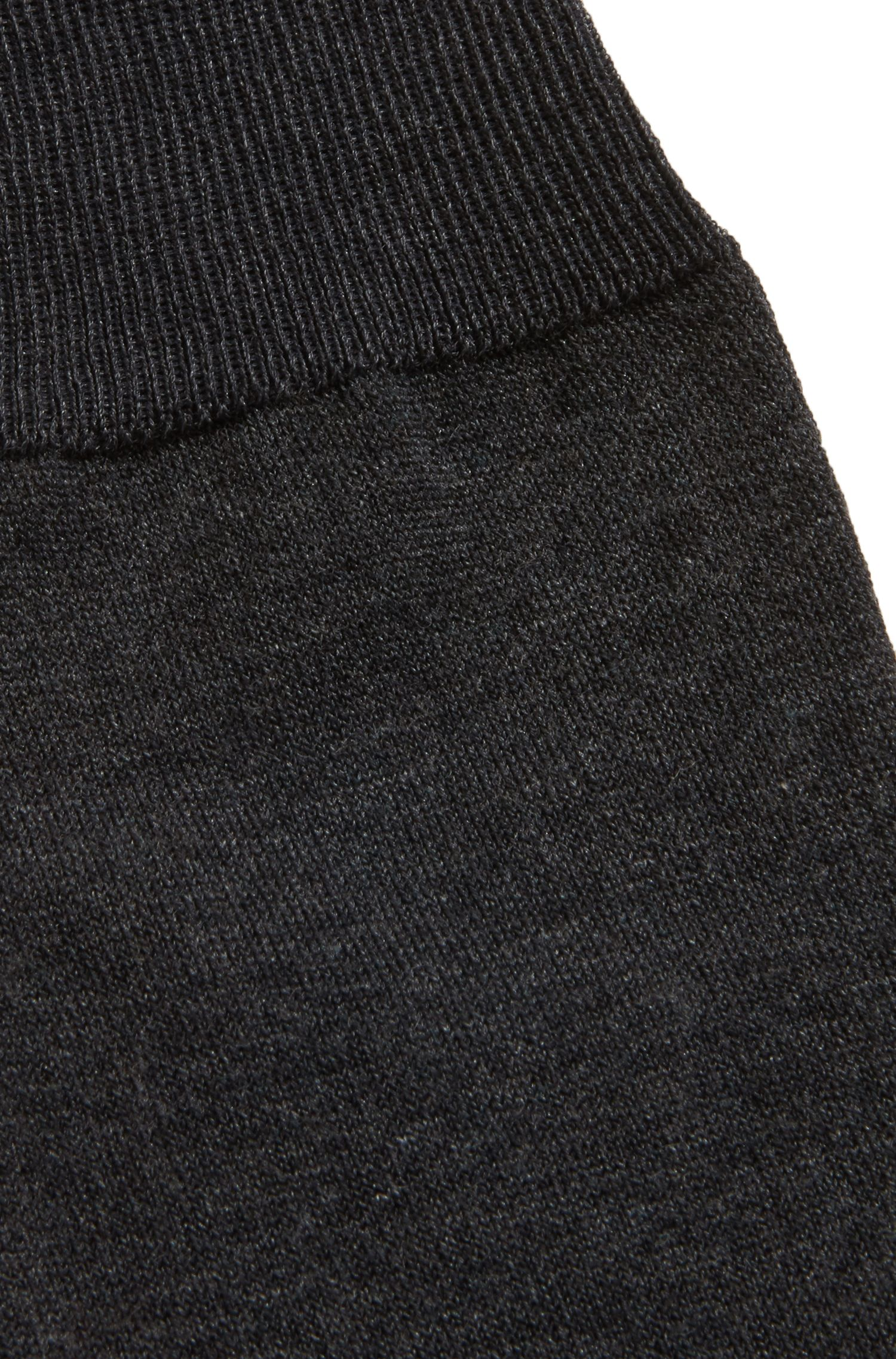 Knee-high socks in mercerised stretch cotton, Anthracite
