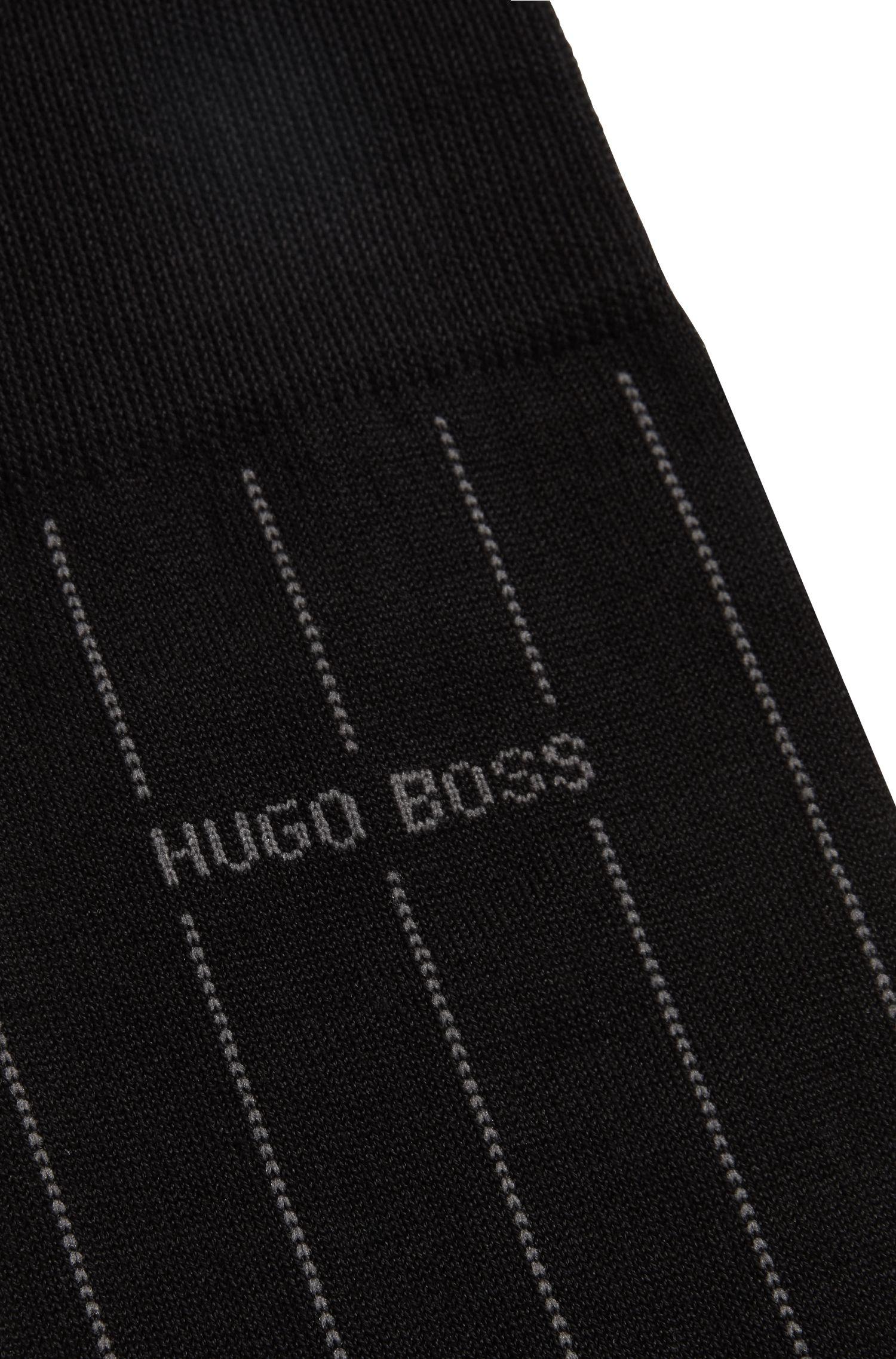 Pinstripe socks in a mercerised-cotton blend, Black