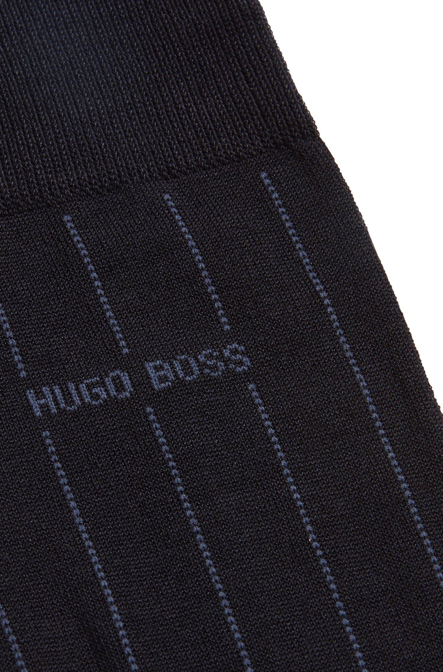 Nadelstreifen-Socken aus merzerisiertem Baumwoll-Mix, Dunkelblau