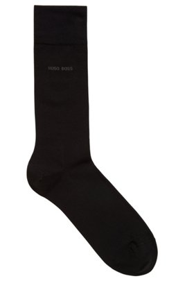 Regular-length socks in combed stretch cotton, Black