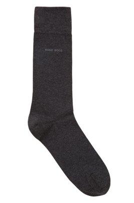 Regular-length socks in combed stretch cotton, Dark Grey
