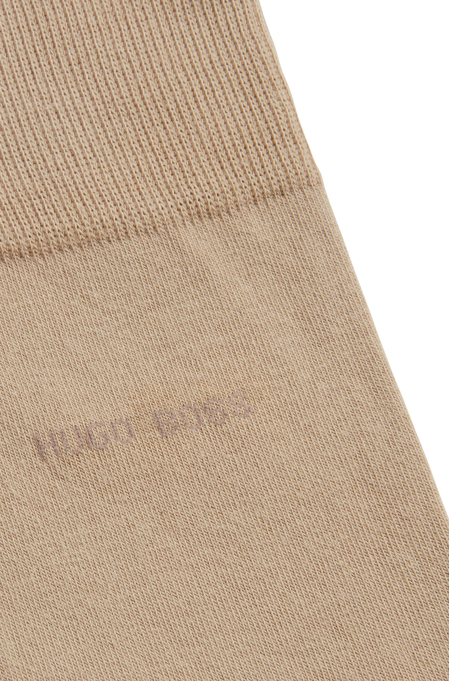 Combed sustainable-cotton socks with stretch, Beige