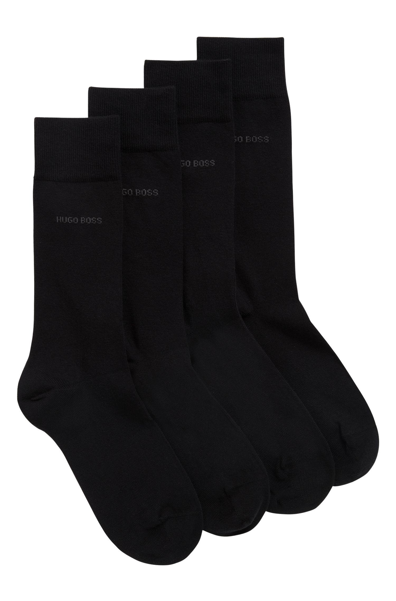 Mittelhohe Socken aus Baumwoll-Mix im Zweier-Pack, Schwarz