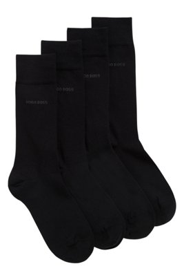 Two-pack of regular-length socks in a cotton blend, Black
