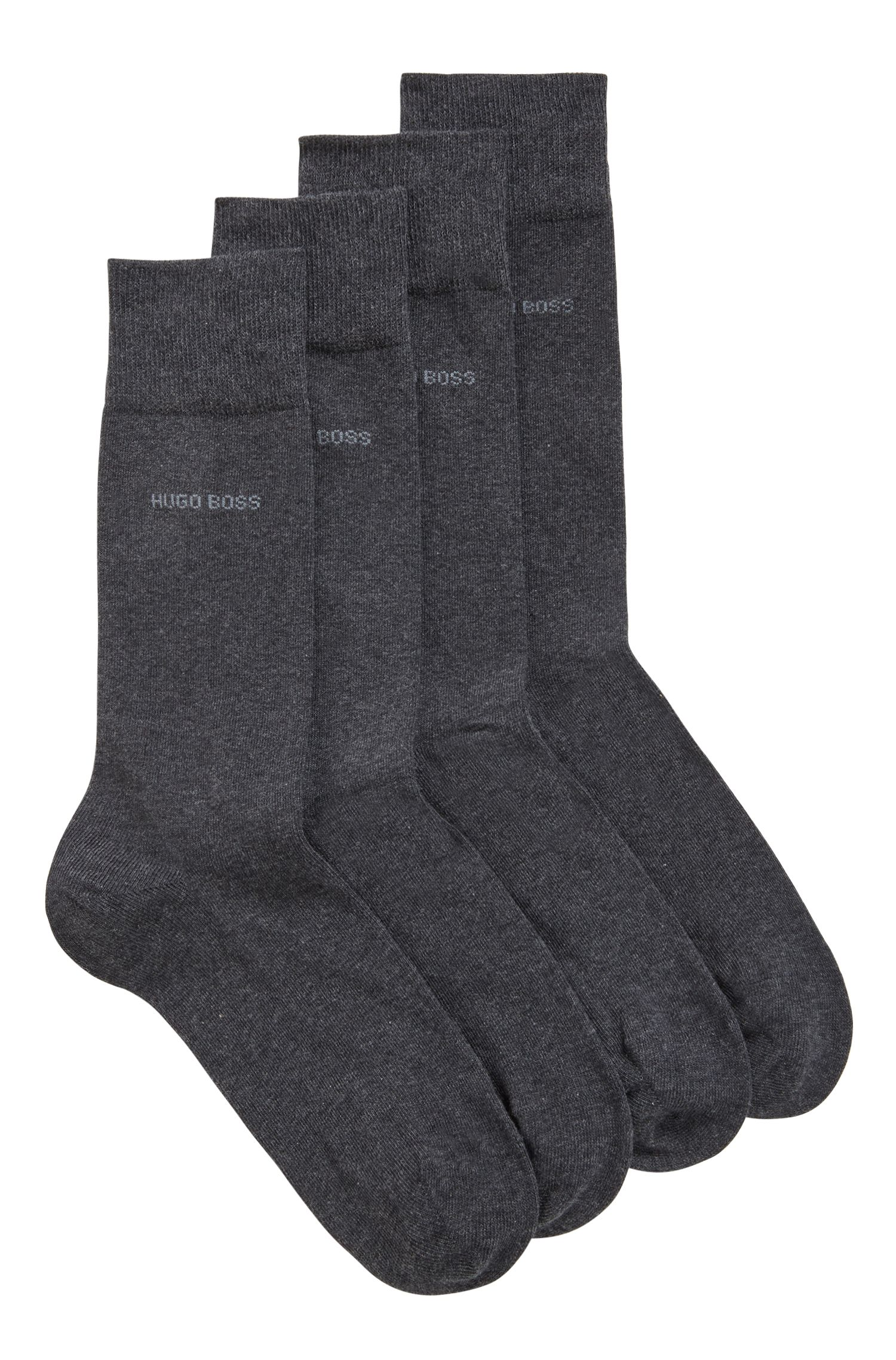 Two-pack of regular-length cotton-blend socks, Anthracite