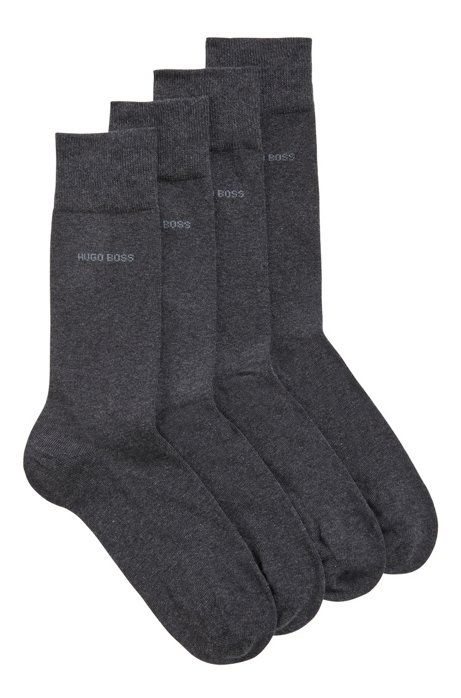 Lot de deux paires de chaussettes mi-hautes en coton mélangé, Gris sombre
