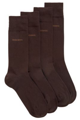 Two-pack of regular-length socks in a cotton blend, Dark Brown