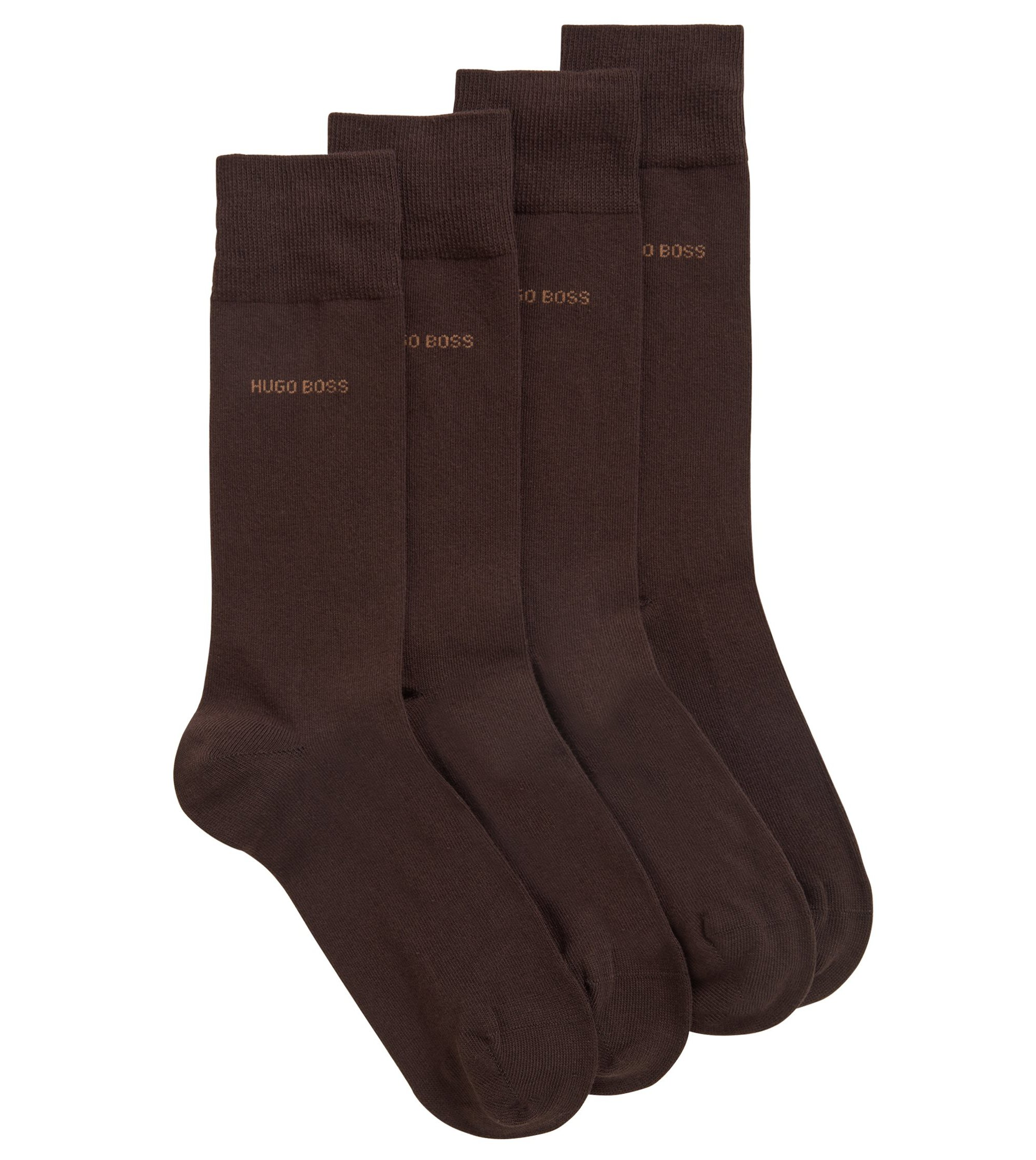 Two-pack of regular-length cotton-blend socks, Dark Brown