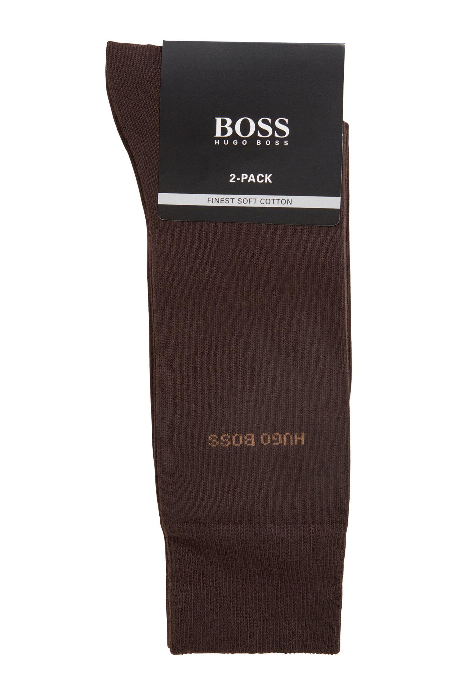 Mittelhohe Socken aus Baumwoll-Mix im Zweier-Pack, Dunkelbraun