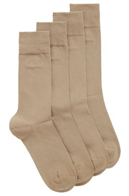 Two-pack of regular-length socks in a cotton blend, Beige