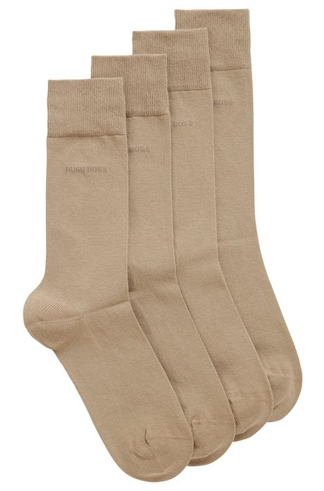 Calze di lunghezza media in misto cotone in confezione da due, Beige