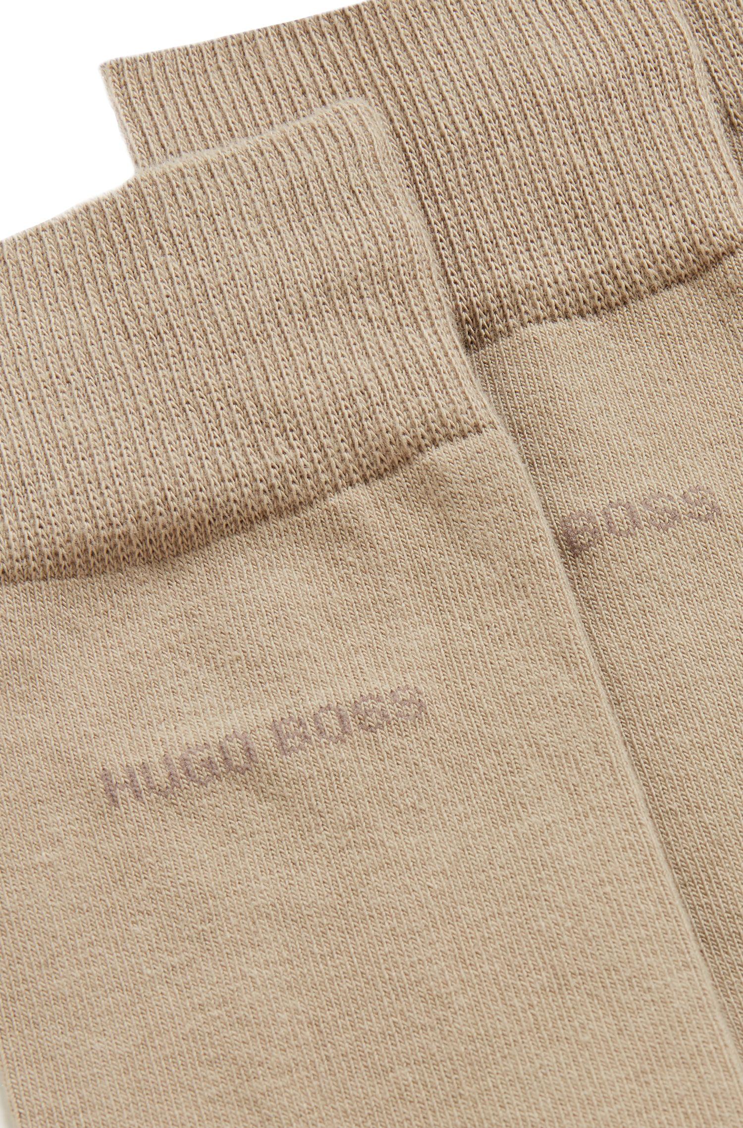 Two-pack of regular-length cotton-blend socks, Beige