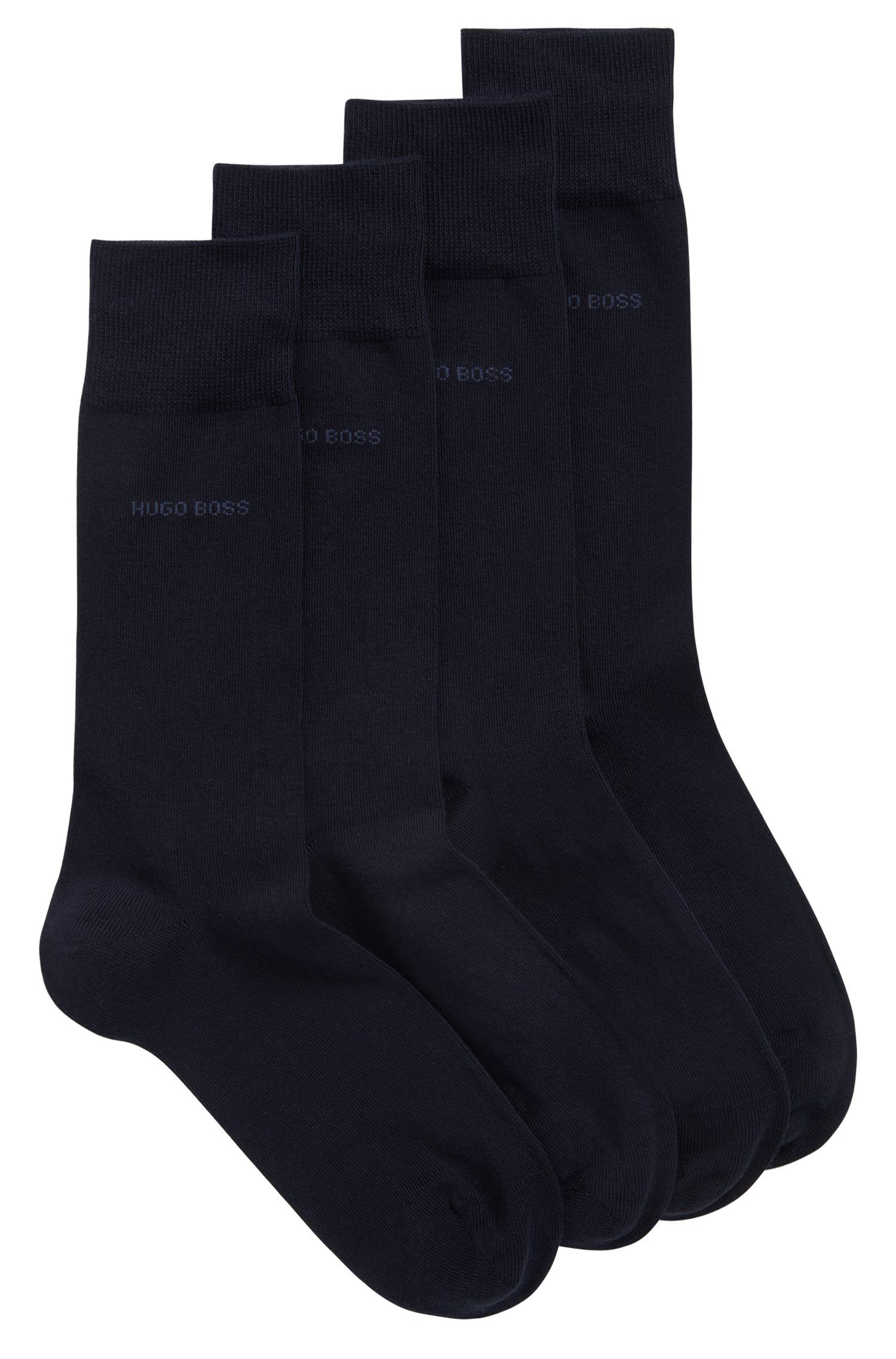 Two-pack of regular-length cotton-blend socks, Dark Blue