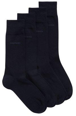 Two-pack of regular-length socks in a cotton blend, Dark Blue