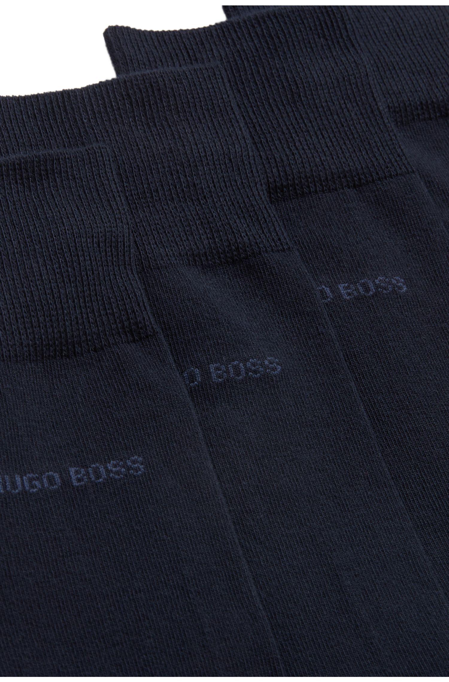 Set van twee paar sokken in standaardlengte van een katoenmix, Donkerblauw