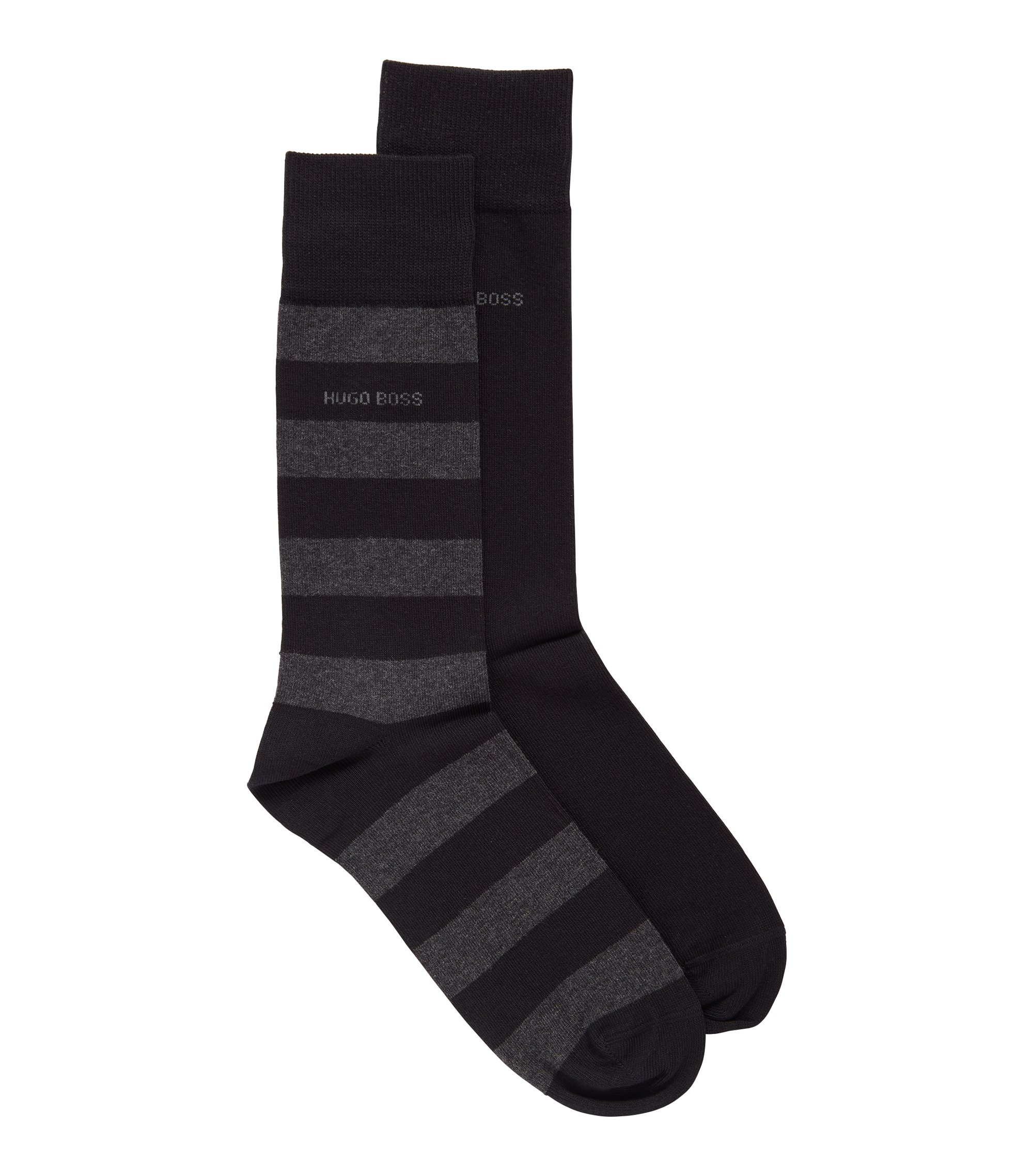 Two-pack of regular-length socks in a combed-cotton blend, Black