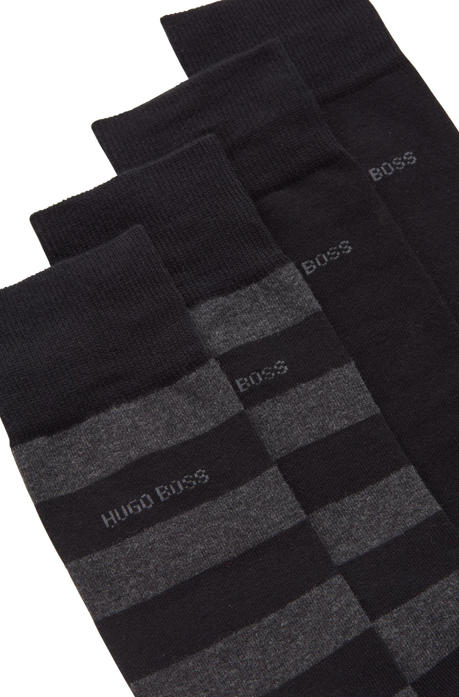 Set van twee paar sokken van een gekamde katoenmix met een normale lengte, Zwart