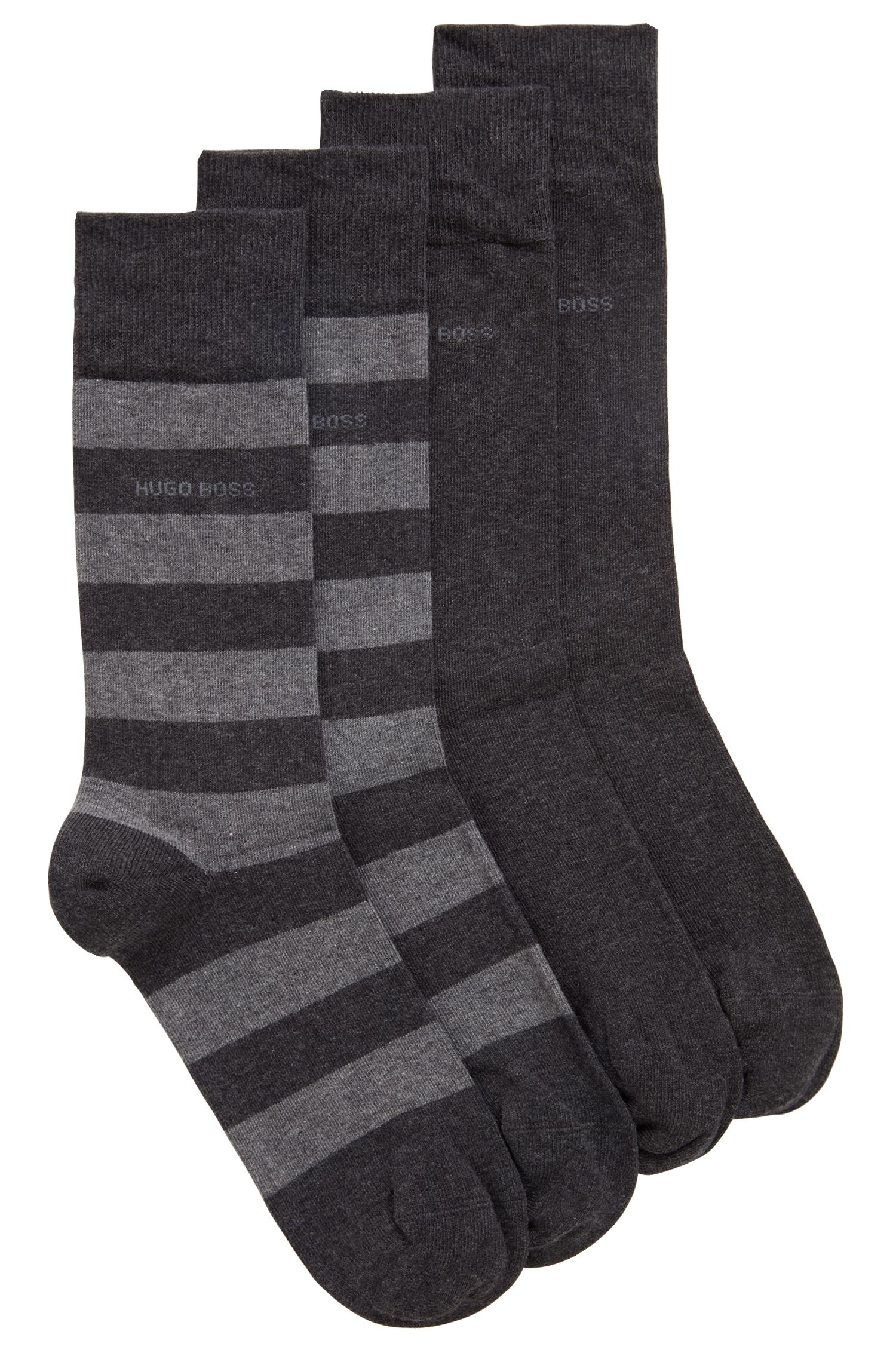 Two-pack of regular-length socks in a combed-cotton blend, Anthracite