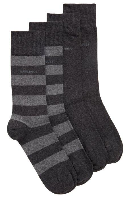 Zweier-Pack mittelhohe Socken aus gekämmtem Baumwoll-Mix, Dunkelgrau
