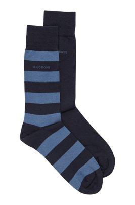 Paquete de dos pares de calcetines de largo normal en mezcla de algodón peinado, Azul oscuro